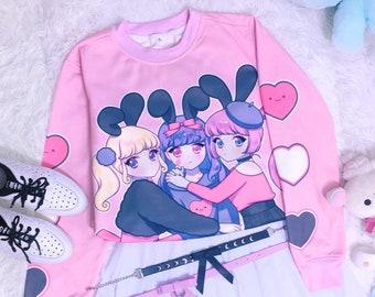 56a3b419 Bunny girls - Oversized sweatshirt - cute rabbit girls, fairy kei, yume  kawaii, pink, harajuku jfashion sweater - SS12