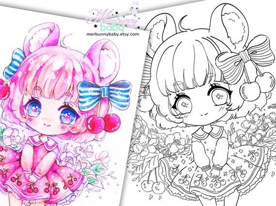 Kirsche Maus Chibi Mädchen Malvorlagen süße Anime Manga