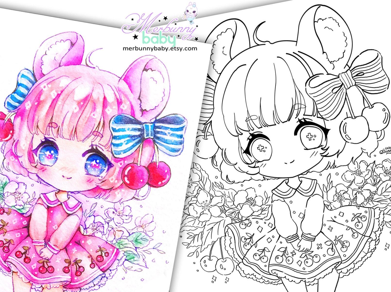 Kirsche Maus Chibi Mädchen Malvorlagen süße Anime Manga | Etsy