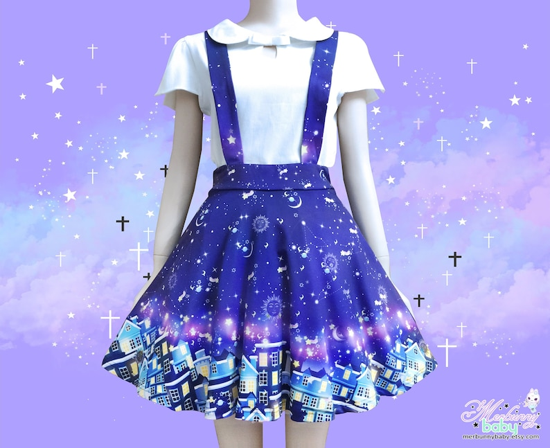 fc860e7043 City of stars Suspender skirt galaxy skater constellation | Etsy