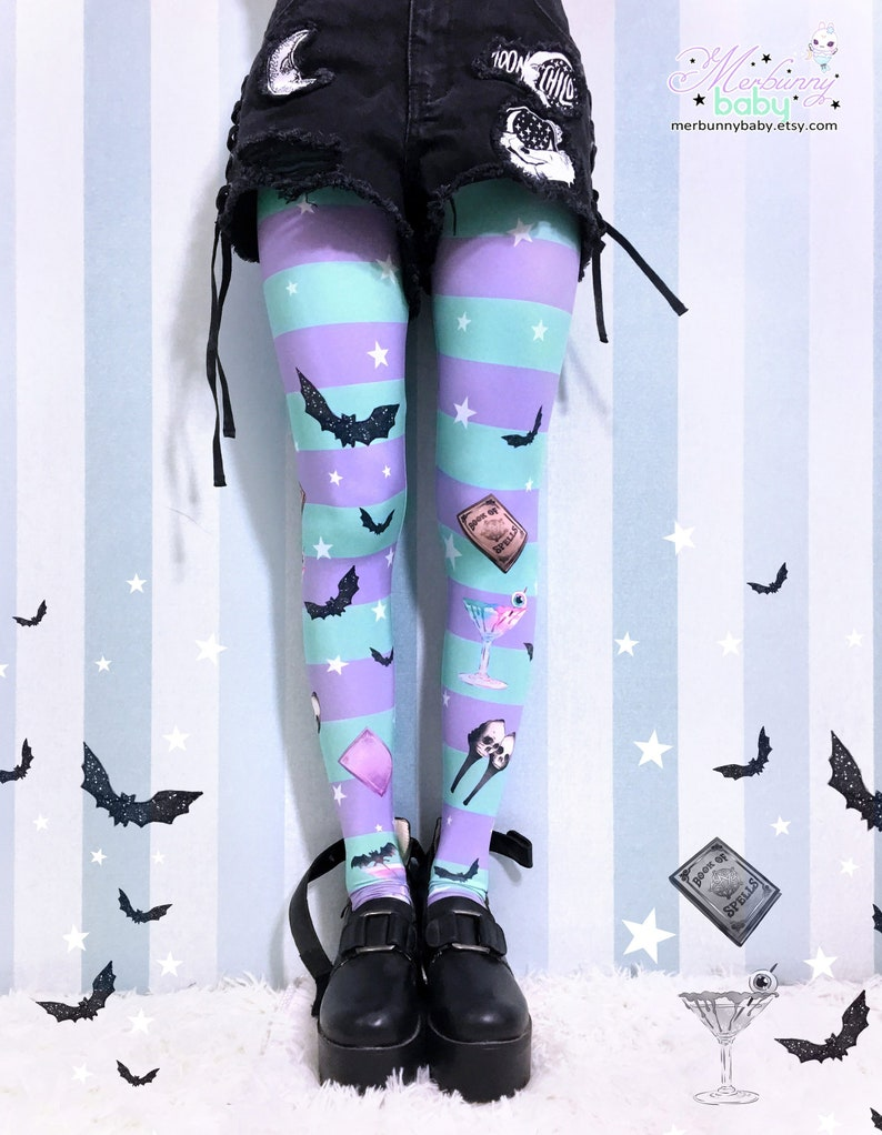 14d027ee6 Skulltini Leggings/Tights pastel goth creepy cute kawaii | Etsy
