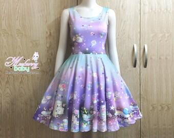 The cotton candy sheep (pastel) - Cute skater dress, kawaii skater dress, fairy kei, lolita, pastel galaxy skater dress - SD29