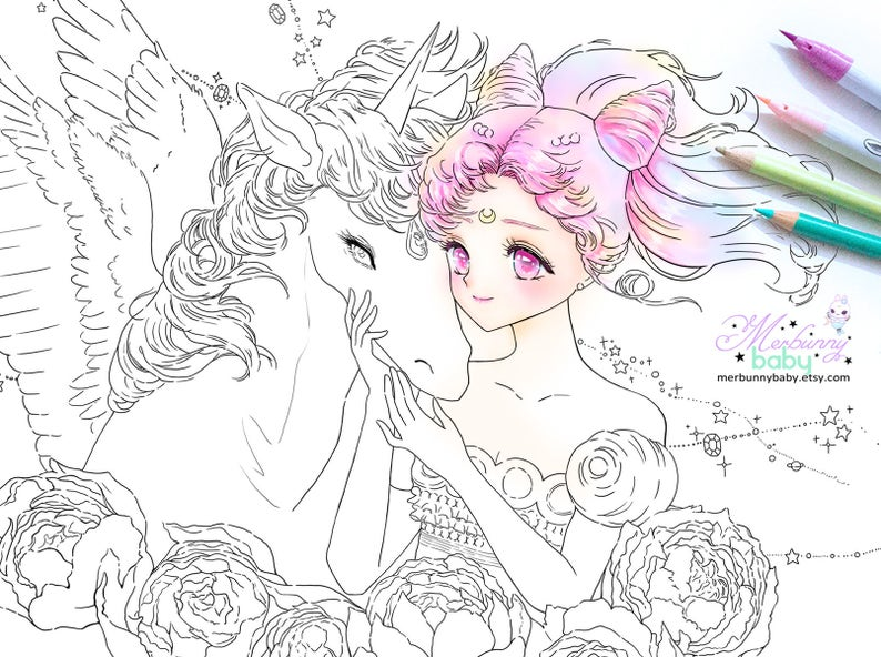 Chibiusa and Helios Coloring page cute anime manga girl | Etsy