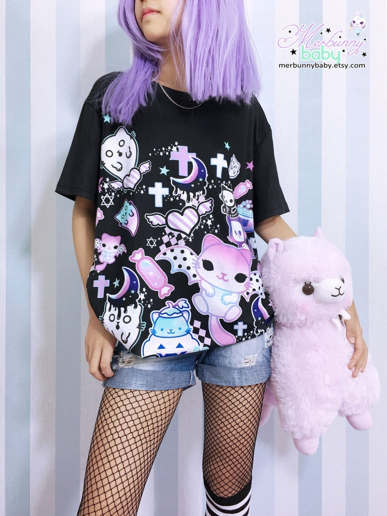 bd46c86be Magic cats Unisex T-shirt Kawaii pastel goth creepy cute | Etsy
