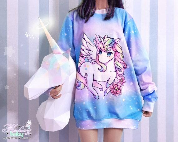 Rainbow Alicorn Oversized Sweatshirt Kawaii Cute Unicorn Etsy