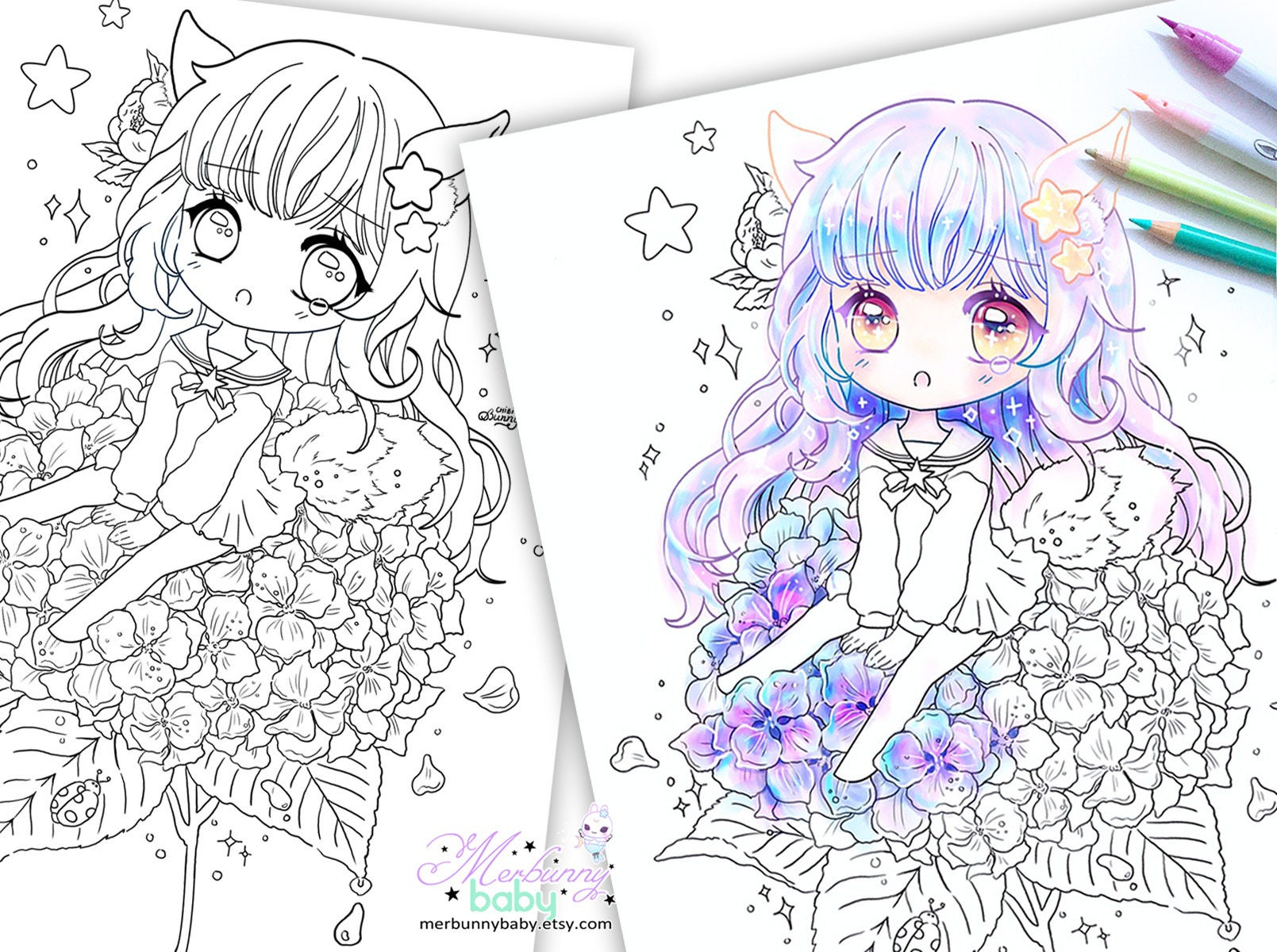 Chibi Mädchen auf Hortensie Malvorlagen süße Anime Manga