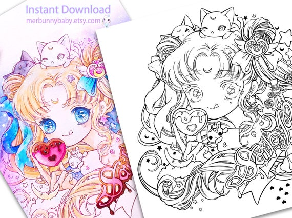 süße sailor moon malvorlagen süße anime manga mädchen  etsy