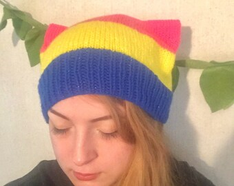 6579df61 LGBT Cat Ear Beanie Pansexual