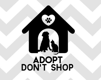 Laptop Sticker Dog Car Decal Adopt Dont Shop White Decal