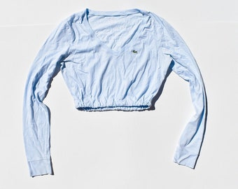 9b548f0f1af Vintage Reworked Lacoste Light Blue Long Sleeve Elastic bottom crop top
