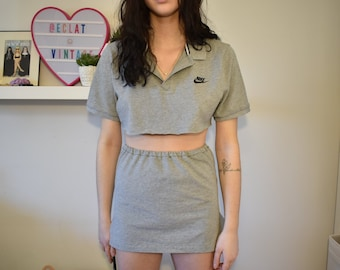 76361e5c8fa03 Vintage Reworked Nike Grey Two Piece Skirt and Cropped T-shirt set