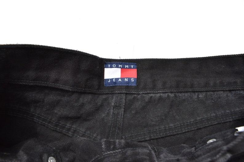 Vintage Reworked Tommy Hilfiger Black Denim Shorts Size 12