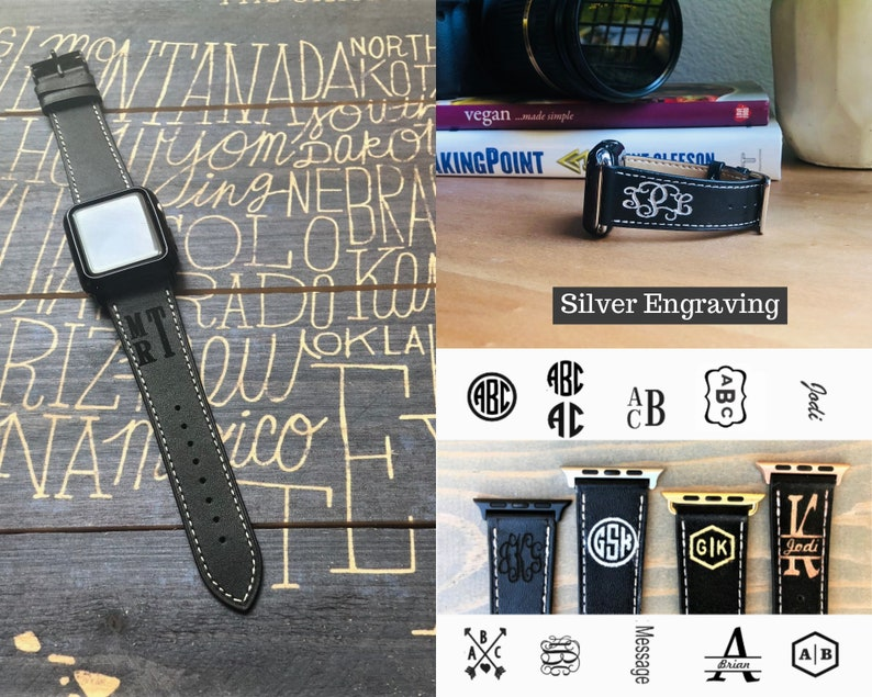 Monogram Apple Watch Band 42mm Personalized Apple Watch Band 38mm Leather Iwatch Band Engraved Apple Watch Strap Men Women Iwatch Strap