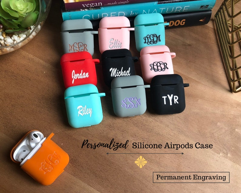 Personalized Airpod Case Keychain Monogramairpod Case Silicone Airpod Keychain Pink Airpods Cover Airpods Pouch Airpods Holder