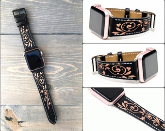 Apple Watch Band 38mm Leather Women, Floral Apple Watch Band 42mm, Apple Watch Strap Rose Gold, Floral iWatch Band, iWatch Strap series 3