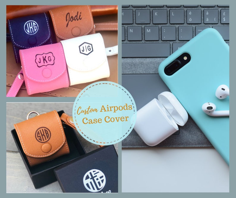 Leather Personalized Airpod Case Monogram Airpods Case Airpods Holder Leather Airpods Cover Apple Airpods Pouch Airpods Accessories