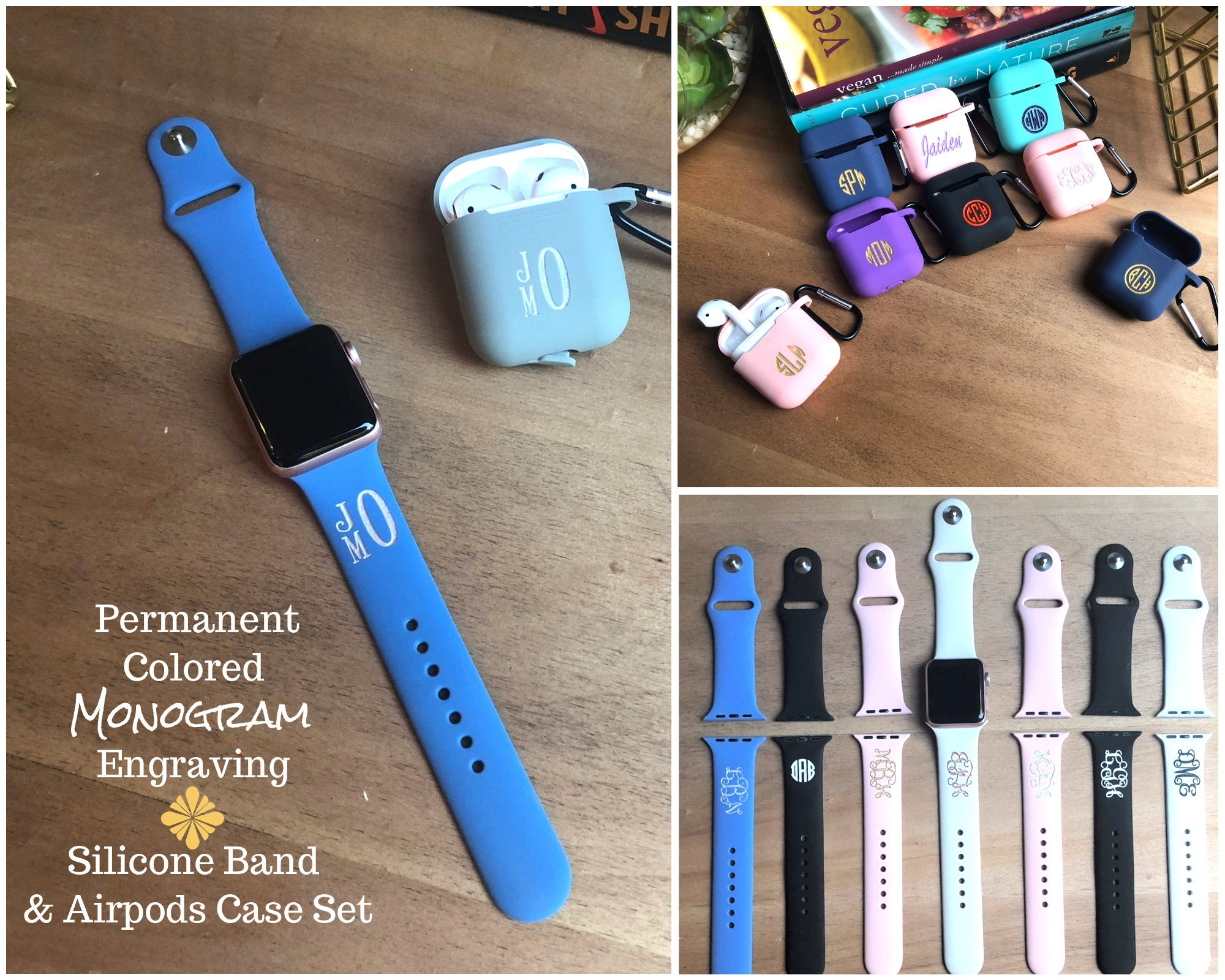 Silicone Airpods Case Apple Watch Band 38mm Monogram Apple Watch Band Personalized Apple Watch Band Apple 4 Band Custom Iwatch Band