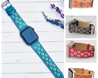 Personalized Apple Watch Strap for Women, Floral iWatch Band, Apple Watch Bands 38mm, Apple Watch Band 42mm, Designer iWatch Strap Series 3