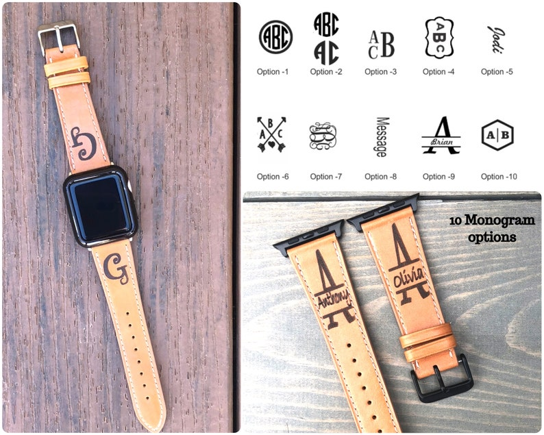 Personalized Apple Watch Band 38mm Monogram Apple Watch Band 42mm Leather Iwatch Band Engraved Apple Watch Strap Men Women Iwatch Strap