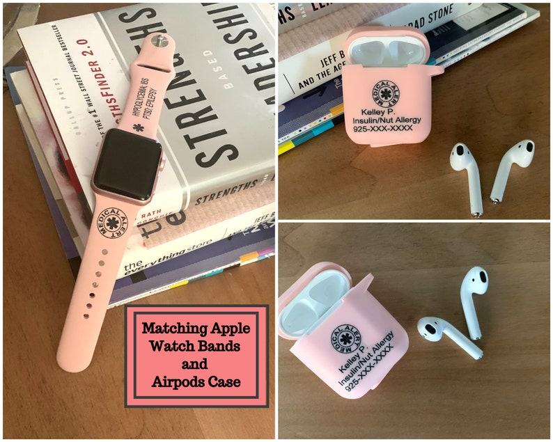 Personalized Airpod Case Medical Id Medical Id Airpod Case Silicone Airpod Medical Id Apple Watch Band Medical Id Band