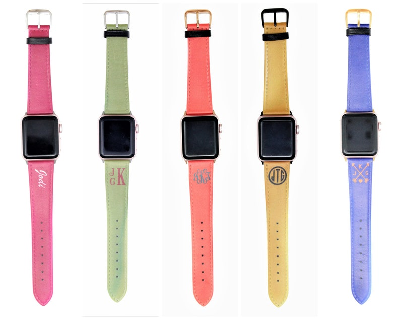 Leather Apple Watch Band 38mm Woman Personalized Apple Watch Band 42mm Men 40mm 44mm Monogram Apple Watch Strap Iwatch Band Iwatch Strap