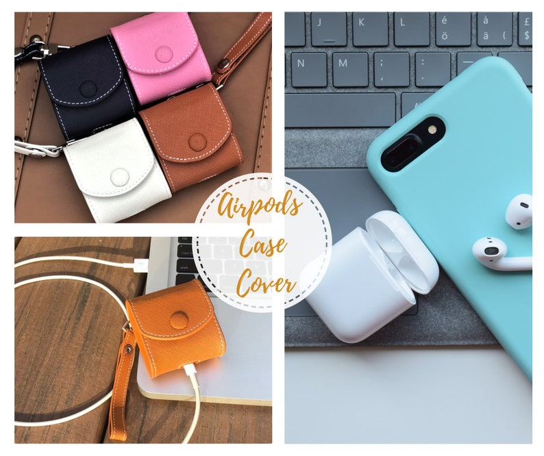 check out 9c912 8730a Leather AirPod Case, Leather AirPod Case with Strap, Airpods Case, Airpods  Holder, AirPods Cover, Apple AirPods Pouch, Airpods Accessories