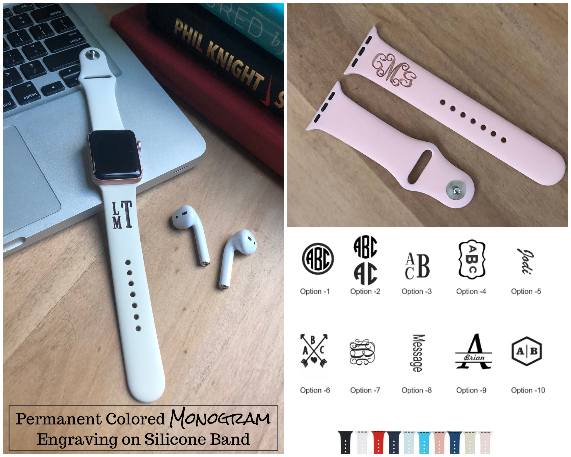 Silicone Apple Watch Band 38mm Monogram Apple Watch Band Personalized Apple Watch Band Apple 4 Band Custom Iwatch Band Iwatch Strap