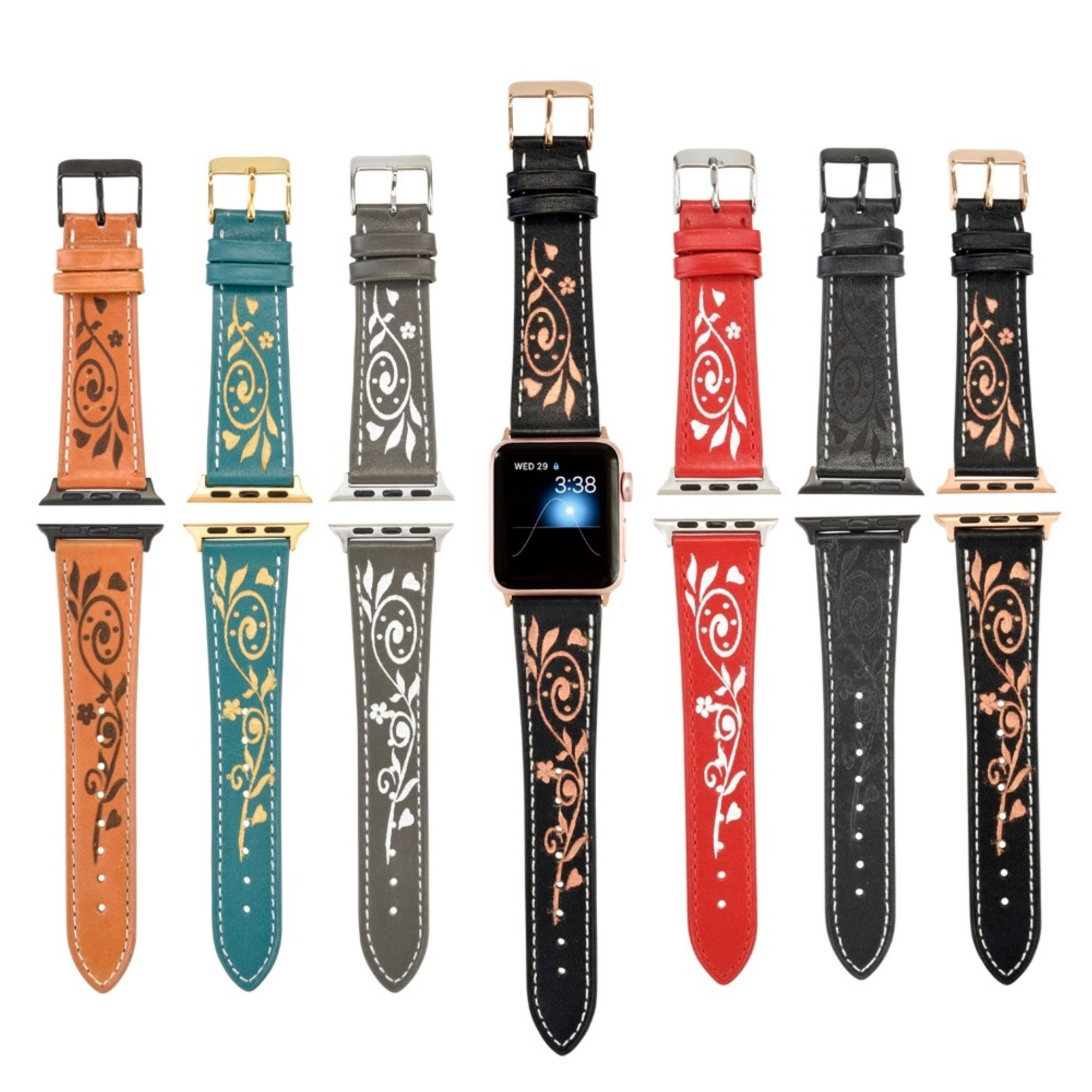 Leather Apple Watch Band 38mm Women Floral Apple Watch