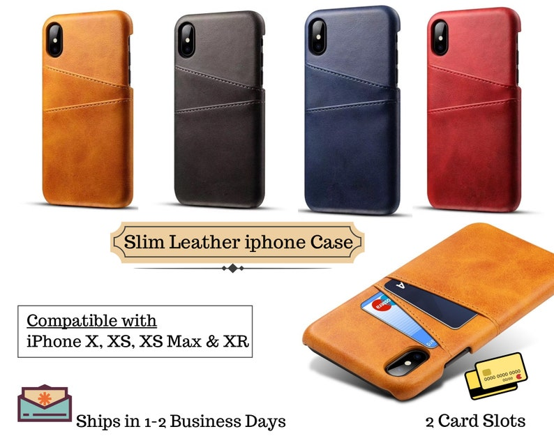 premium selection 52ea4 60be2 iPhone X case Leather Wallet, iPhone case with wallet, iPhone Xs Max case,  Monogram iPhone Xs case, Slim iPhone XR case with card holder