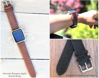 Stingray Apple Watch Band 38mm, Stingray Apple watch Strap 42mm, Genuine Stingray Leather iWatch Band, Stingray iWatch Strap