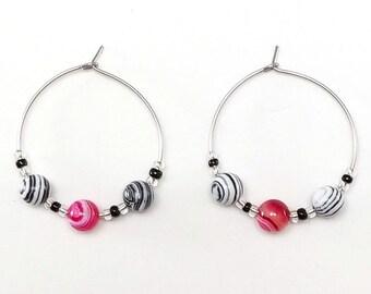 Fuchsia, Black and White Beaded Hoop Earrings