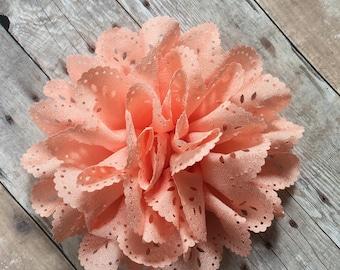 "Peach Eyelet Flower, 4"" Fabric Flower, DIY Infant Headband, Headband Supplies, Eyelet Flower, Hair bow flower, Hair accessorie supply"