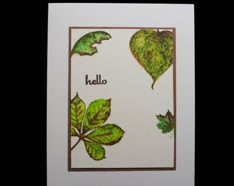Hello Card, Blank Card, Note Card, Hand Painted, Watercolor Card, Hand Made Card