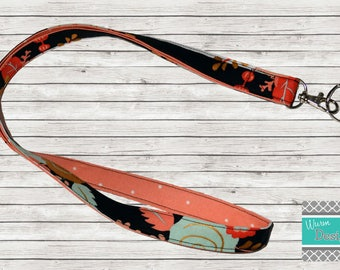 Coral/Mint/Gold/ Black & White Striped Fabric Lanyard