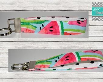 Watermelon Keychain or Lanyard, Key Fob, Wristlet Keychain, Wristlet Key Fob, Lanyard