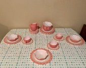 Hazel Atlas 1950s pink crinoline ruffle luncheon dessert set