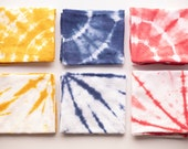 Primary Shibori Tie Dye Flour Sack Towel;  Your Choice of Color/Pattern, Large Tie Dyed Cotton Kitchen Towel, Yellow Red Blue