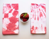 Strawberry Red Shibori Tea Towels pair, Set of Two Large Tie Dyed Cotton Kitchen Towels, Tie Dye Target and Spiral Pattern