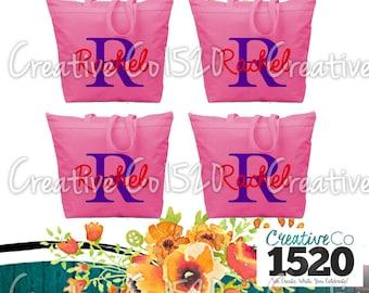 SET OF 4 Name Custom Tote Bag | Custom Tote Bag | Tote Bag Wedding | Bridesmaid Tote | Bridesmaid Gift | Tote Bag Bride
