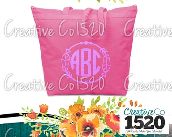Feather Monogram Tote Bag | Custom Tote Bag | Tote Bag Wedding | Bridesmaid Tote | Bridesmaid Gift | Tote Bag Bride | Bridesmaid Gift Idea