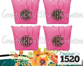 SET OF 4 Round Monogrammed Tote Bag | Custom Tote Bag | Tote Bag Wedding | Bridesmaid Tote | Bridesmaid Gift | Tote Bag Bride