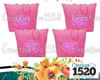 SET OF 4 Feather Monogram Tote Bag | Custom Tote Bag | Tote Bag Wedding | Bridesmaid Tote | Bridesmaid Gift | Tote Bag Bride