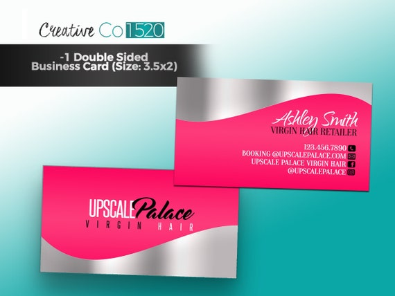 Pink And Silver Business Cards Pink Hair Bundle Business Etsy