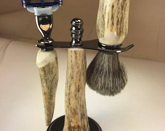Moose Antler Shaving Set with gun metal accents and base.