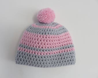 Beanie wool hat girl pink and gray