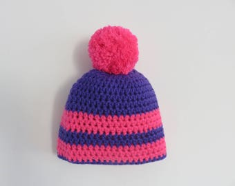 Beanie wool hat girl pink and purple