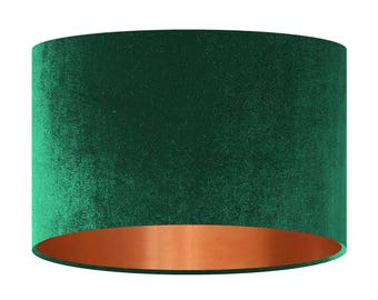 Exceptionnel Velvet Lamp Shade, Bottle Green Handmade Fabric Lampshade, Mirror Copper  Lining, 20 30 40 Cm, Large Small Light Shade, Drum Shade, Gift