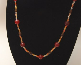 Carnelian and Agate necklace  35""