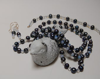 Tahitian Pearl and Opalite Bead 3 Piece set.