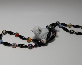 Floral Porcelain and Onyx Beadwork